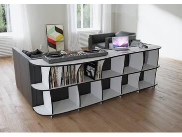 Regal Schallplattenregal Erika - 249 x 80 x 51 cm (B x H x T) - Weiss, MDF Schwarz, 19 mm - konfigurierbar in 3D