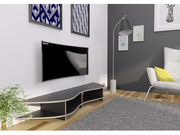 TV-Möbel TV-Lowboard Lowya - 190 x 26 x 45 cm (B x H x T) - Schwarz, MDF Natur, 19 mm - konfigurierbar in 3D
