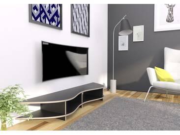 TV-Möbel Curved-TV-Rack Lowya - 190 x 26 x 45 cm (B x H x T) - Schwarz, MDF Natur, 19 mm - konfigurierbar in 3D