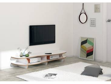 KONFIGURIERBAR IN 3D - Regal TV-Lowboard White Carpet - 160 x 41 x 46 cm - Weiß, MDF Natur