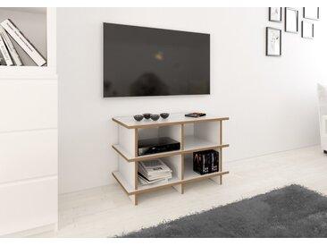 TV-Möbel TV-Rack Strada  S - 80 x 50 x 38 cm (B x H x T) - Weiss, MDF Natur, 19 mm - konfigurierbar in 3D