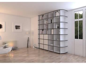 Schrank Bücherschrank Adriana - 200 x 238 x 57 cm (B x H x T) - Weiss, MDF Schwarz, 19 mm - konfigurierbar in 3D