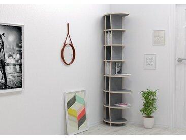 Regal Eckregal Armanda - 57 x 180 x 46 cm (B x H x T) - eco Hellgrau, Birkenschichtholz, 18 mm - konfigurierbar in 3D