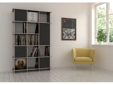 Regal Schallplattenregal Jimmy - 120 x 190 x 35 cm (B x H x T) - Schwarz, Birkenschichtholz, 18 mm - konfigurierbar in 3D