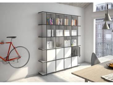 Regal Bücherregal Strada M - 195 x 220 x 30 cm (B x H x T) - Weiss, MDF Schwarz, 19 mm - konfigurierbar in 3D