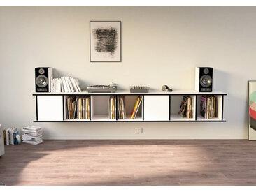 Regal Schallplattenregal Vinylos - 240 x 41 x 40 cm (B x H x T) - Weiss, MDF Schwarz, 19 mm - konfigurierbar in 3D