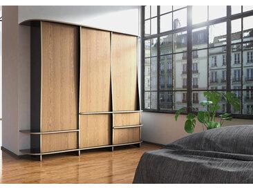 Schrank Kleiderschrank Okino - 222 x 210 x 59 cm (B x H x T) - Schwarz, Birkenschichtholz, 18 mm - konfigurierbar in 3D