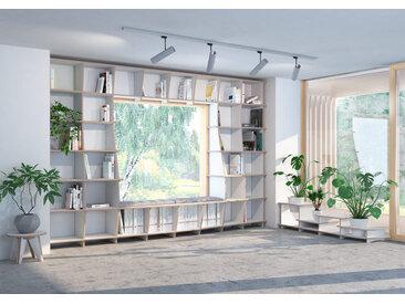 Regal Bibliothek Sinfonia - 336 x 227 x 50 cm (B x H x T) - Weiss, Birkenschichtholz, 18 mm - konfigurierbar in 3D
