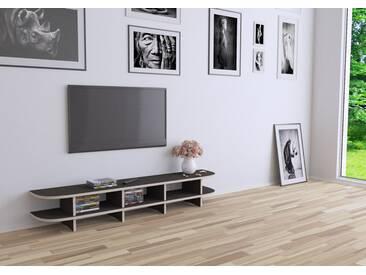 KONFIGURIERBAR IN 3D - TV-Möbel Lowboard Classic - 160 x 26 x 30 cm - Schwarz, Birkenschichtholz