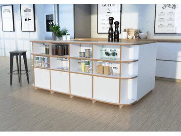 Schrank Küchenschrank Finja - 200 x 90 x 30 cm (B x H x T) - Weiss, MDF Natur, 19 mm - konfigurierbar in 3D