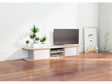 TV-Möbel TV-Lowboard Daarle - 150 x 26 x 35 cm (B x H x T) - Weiss, MDF Natur, 19 mm - konfigurierbar in 3D