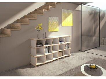 KONFIGURIERBAR IN 3D - Sideboard White Sea - 180 x 90 x 45 cm - Weiß, MDF Natur