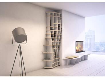 Regal Weinregal Charlotta S - 93 x 250 x 46 cm (B x H x T) - Weiss, MDF Natur, 19 mm - konfigurierbar in 3D