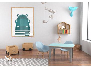 Tisch Kindertisch Masia - 80 x 60 x 47 cm (L x B x H) - eco  Blau, Birkenschichtholz, 18 mm - konfigurierbar in 3D