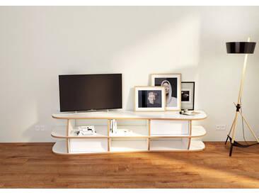 Regal TV-Lowboard Evita - 180 x 41 x 47 cm (B x H x T) - Weiss, MDF Natur, 19 mm - konfigurierbar in 3D