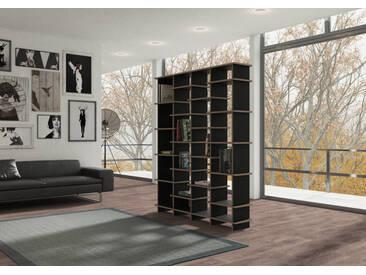 Regal Raumteiler Pattan - 150 x 180 x 28 cm (B x H x T) - Schwarz, MDF Natur, 19 mm - konfigurierbar in 3D