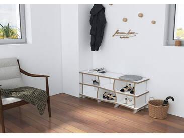 Sitzbank Schuhbank Arroya - 100 x 41 x 32 cm (B x H x T) - Weiss, Birkenschichtholz, 18 mm - konfigurierbar in 3D