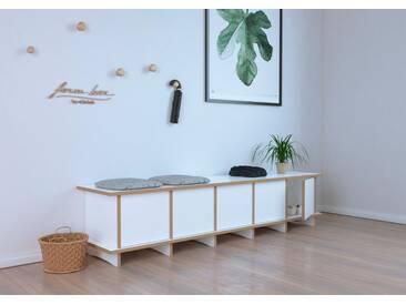 Sitzbank Schuhbank Doro - 180 x 40 x 40 cm (B x H x T) - Weiss, MDF Natur, 19 mm - konfigurierbar in 3D