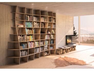 Regal Bücherregal Charlotta - 235 x 240 x 45 cm (B x H x T) - Eiche, Birkenschichtholz, 18 mm - konfigurierbar in 3D