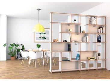 Regal Raumteiler Alika - 249 x 230 x 28 cm (B x H x T) - Weiss, MDF Natur, 19 mm - konfigurierbar in 3D