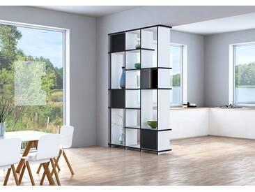 KONFIGURIERBAR IN 3D - Regal Raumteiler Retta - 120 x 200 x 30 cm - Weiß, MDF Schwarz