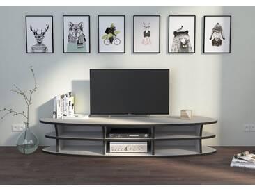 TV-Möbel TV-Lowboard Siri - 160 x 30 x 48 cm (B x H x T) - Weiss, MDF Schwarz, 19 mm - konfigurierbar in 3D