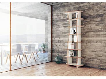 Regal Bücherregal Milana - 78 x 200 x 35 cm (B x H x T) - Weiss, MDF Natur, 19 mm - konfigurierbar in 3D