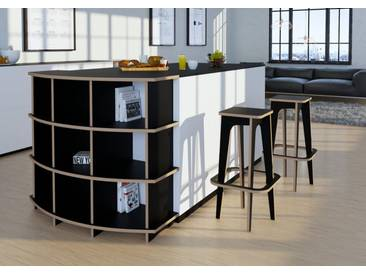 Schrank Küchenschrank Pawon - 100 x 90 x 40 cm (B x H x T) - Schwarz, Birkenschichtholz, 18 mm - konfigurierbar in 3D