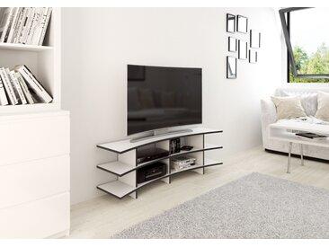 TV-Möbel TV-Rack Curved TV - 140 x 45 x 35 cm (B x H x T) - Weiss, MDF Schwarz, 19 mm - konfigurierbar in 3D