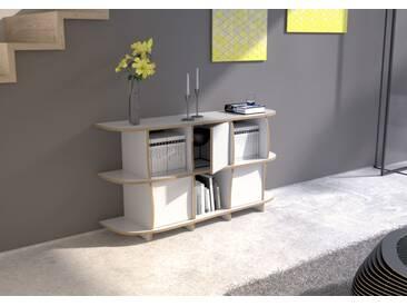 Sideboard Sideboard Sidona MDF - 140 x 75 x 39 cm (B x H x T) - Weiss, MDF Natur, 19 mm - konfigurierbar in 3D