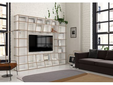 TV-Möbel Wohnwand Jinga - 240 x 200 x 35 cm (B x H x T) - Weiss, Birkenschichtholz, 18 mm - konfigurierbar in 3D