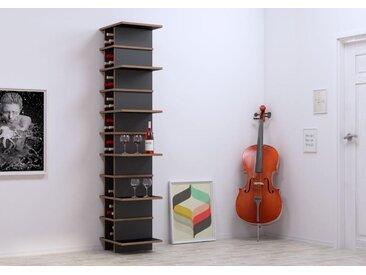 Regal Weinregal Glenda - 45 x 200 x 40 cm (B x H x T) - Schwarz, MDF Natur, 19 mm - konfigurierbar in 3D
