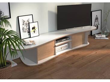 KONFIGURIERBAR IN 3D - TV-Möbel Lowboard Neka - 180 x 30 x 42 cm - Weiß, Birkenschichtholz