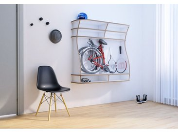 Regal Wandregal Bicicleta - 130 x 100 x 34 cm (B x H x T) - Weiss, Birkenschichtholz, 18 mm - konfigurierbar in 3D