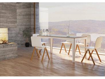 Tisch Esstisch Kubito - 160 x 80 x 76 cm (L x B x H) - Weiss, Birkenschichtholz, 18 mm - konfigurierbar in 3D