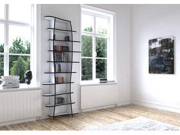 Regal CD-DVD-Regal Mila - 106 x 245 x 33 cm (B x H x T) - Weiss, MDF Schwarz, 19 mm - konfigurierbar in 3D