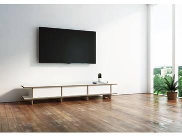 TV-Möbel TV-Lowboard Farnsworth - 180 x 30 x 40 cm (B x H x T) - Weiss, MDF Natur, 19 mm - konfigurierbar in 3D