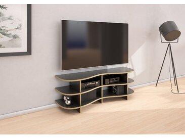 TV-Möbel Curved-TV-Rack Boronda - 130 x 46 x 37 cm (B x H x T) - eco Mittelgrau, Birkenschichtholz, 18 mm - konfigurierbar in 3D