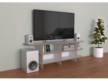 TV-Möbel TV-Rack Stico - 150 x 50 x 39 cm (B x H x T) - Weiss, Birkenschichtholz, 18 mm - konfigurierbar in 3D