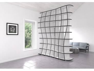 Regal Raumteiler Swing - 195 x 241 x 52 cm (B x H x T) - Weiss, MDF Schwarz, 19 mm - konfigurierbar in 3D