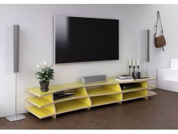 KONFIGURIERBAR IN 3D - TV-Möbel Lowboard Trielle - 210 x 32 x 50 cm - Gelb, Birkenschichtholz