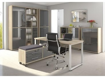 Set Plus Büro 7 Eiche natur / Grauglas