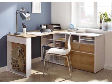 Eck-Schreibtisch 4021 Weiss / Eiche Riviera