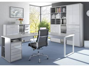 Set Plus Büro 10 Platingrau / Weissglas
