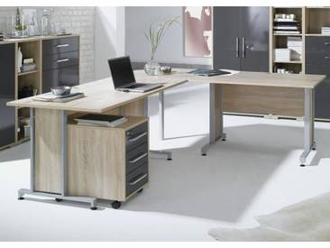 System Eck-Schreibtisch Eiche Sonoma 200x200 cm Mit Holzeinlage