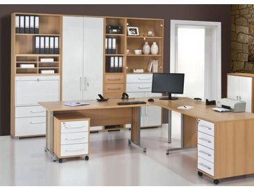System Büro 1901 Buche / Weiss Hochglanz