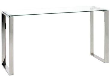 Konsolentisch David 1 mit Glas und Gestell Edelstahl glänzend