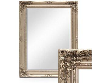 Wand-Spiegel im Barock-Rahmen Antik Silber mit Facettenschliff