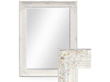 Wand-Spiegel im Barock-Rahmen Antik Weiss mit Facettenschliff