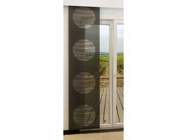 Schiebegardine  von LYSEL® - Target transparent mit Kreisen in den Maßen 245 cm x 60 cm schwarz/anthrazit